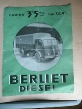 Opuscolo Inserzionista Camion Berliet Diesel 3,5 T Carica Utile Gla / 5 09/1949