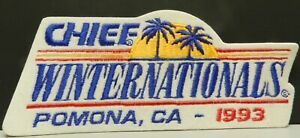 93 CHIEF WINTERNATIONALS POMONA CA NHRA FORD CHEVY DRAG RACING PATCH HAT JACKET