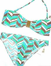 LEILANI swimwear aqua blue print two piece bandeau bikini Swimsuit size 14