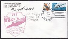US  Navy Postal Cover -  USS Tucson - Change of Command - signed  -  B6505