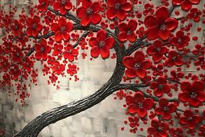Abstract Red Cherry Blossom44 CANVAS WALL ART DECO LARGE READY TO HANG all sizes
