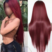 Ombre Burgundy Lace Front Wigs Heat Resistant Synthetic Cosplay Straight Hair