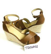 Women MK Michael Kors Eleanora Wedge Buckle Up Sandals Leather Luggage Brown