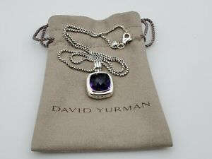 David Yurman 14mm Albion Pendant Necklace with Amethyst and 18 in Baby Box chain
