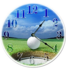"""12"""" GOLF COURSE GOLF BALL AND HOLE CLOCK - Large 12 inch Wall Clock - 2073"""