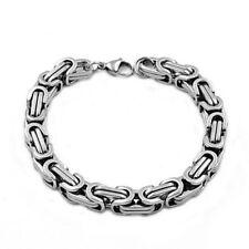 Fashion Stainless Steel Men Women Byzantine Box Chain Link Necklace Bracelet Set