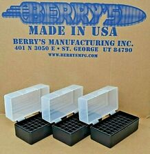 3 x 38 / 357 Plastic Storage Ammo Boxes (Clear / Black Color ) Berrys Mfg 38/357