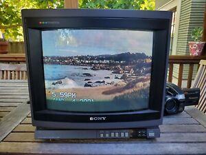 "Vintage Sony Trinitron KV-1380R 13"" Color CRT TV Television NES Light Dark Gray"