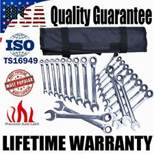Multiple Sizes Combination Ratcheting Wrench Set 11-Piece SAE + 11-Piece METRIC