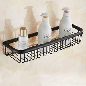 Black Brass Wall Mounted Bath Shower Shelf Soap / Sponge Shower Storage Basket
