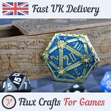 D2 Gold Metal Coin RPG Dice D20 DND Blue Dragon Tabletop Dungeons Flux Crafts
