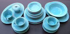 CORONADO POTTERY CALIFORNIA Turquoise Pottery ~ 29 piece set dishes dinner for 4