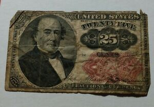 """1874 25 Cents Fifth Issue """"Walker"""" Fractional Currency Paper Note Money Antique"""