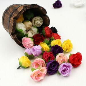 20/100Pcs Small Silk Rose Heads Artificial Fake Flower Buds Wedding Party Decor