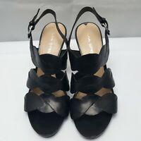 Via Spiga Women's US 7 Black Leather Open Toe High Heel Sandal Strappy