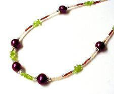 "Gorgeous 24"" .925 Sterling 60cttw Pearl, Garnet, Opal & Peridot Necklace F20"
