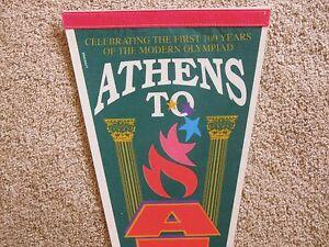 1996 Athens to Atlanta USA Summer Olympics 100 Year Anniversary Pennant