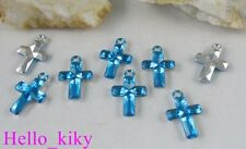 400 pcs Blue cross Acrylic charms 21X14mm M1769