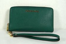Michael Kors Jet Set Emerald Saffiano Leather Large Flap MF Phone Case Wristlet
