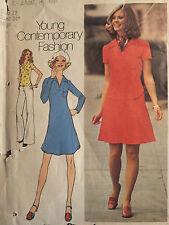 Vtg 74 Simplicity 6756 Misses Ycf Short Dress or Top & Skirt Pattern 12/34B