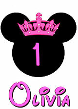 MINNIE MOUSE WITH CROWN BIRTHDAY IRON ON TRANSFER CREATE A BIRTHDAY T SHIRT