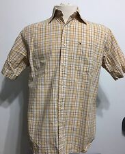 Tommy Hilfiger Plaid Checkerd Short Sleeve Botton Down Mens Shirt Size Small