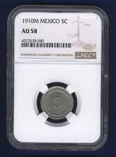 MEXICO ESTADOS UNIDOS 1910 5 CENTAVOS COIN CERTIFIED ALMOST UNCIRCULATED NGCAU58
