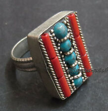 R19 Coral Turquoise inlay Tibetan Silver bold big gift size 11.5 ring Nepal