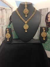 Necklace Set Earrings tikka  Wedding Indian Bollywood Jewellery Gold Tone -m24