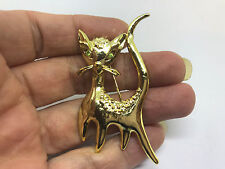 Vintage Signed AJC Cat Rhinestone Eyes BROOCH Pin Costume Jewelry Gold Tone