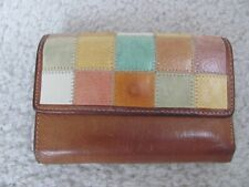 Fossil Women's Brown and Multicolor Patchwork Design Leather Wallet
