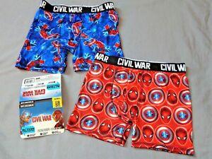 Spiderman Underwear Boxer Briefs Boys Size 8 Red Blue Captain America Civil War