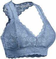 Women's Sexy Racerback Lace Bralette Bustier Breathable, Cement, Size X-Large Li