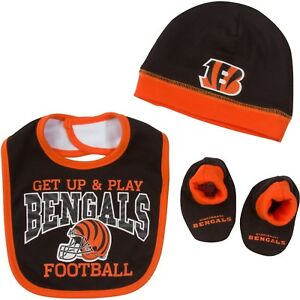 Cincinnati Bengals Baby Bib Hat & Booties Set, NFL Licensed Gerber