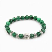 Stone Jewelry Malachite Bracelet Yoga Bangle Sliver Buddha Natural Stone Beads