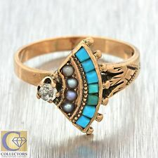 1880s Antique Victorian 14k Solid Rose Gold Turquoise Pearl Diamond Ring