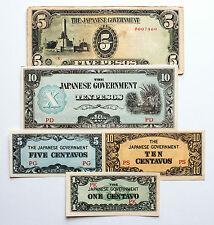 5 diff. Philippines WW2 1940's Japanese invasion paper money nice circ.-Au