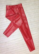 VINTAGE FLAME RED LEATHER HIGH RISE 80'S TAPERED SLIM Sz 7 PUNK PANTS 25X28 ! E7