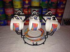 (6) Vintage 80s ARCOPAL France Demitasse Cups, Saucers & Stand Espresso Childs