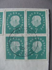 GERMANY BRD, cover to Austria 1961, 6x stamp Heuss 7 Pf ao block of 4