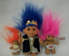 Lot of 3 Vintage Russ Troll Dolls Royal King 1993 New Year & Baby