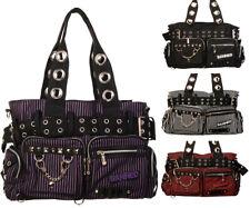 Banned Striped Handcuff Punk Gothic Shoulder Bag Handbag Nugoth Canvas Womens