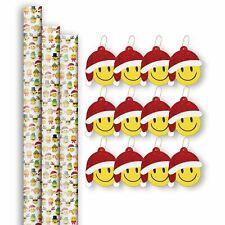 Christmas Emoji Gift Wrap Paper Roll & Tag Assortment (3 Rolls & 12 Tags)