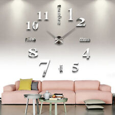 DIY  Wall Clock 3D Mirror Surface Sticker Home Office Room Decoration Too