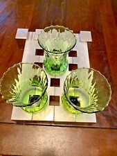 (3) Vintage Homco Glass Votive Sconce Cup Candle Holder Peg Green Swirl 5� Tall