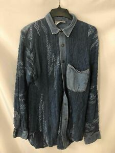Coogi Blue Jean Sweater Button-Up Shirt - Size Large Men's