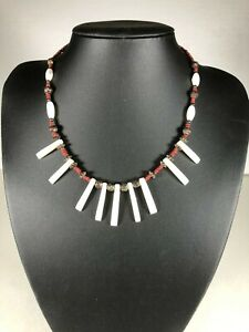 "16"" Burgundy Beaded Necklace with polished Mother of Pearl"