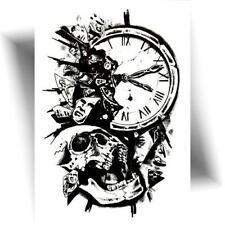►TATOUAGE TEMPORAIRE DESTIN (Tatto éphémère tête de mort / Crâne / Horloge)◄