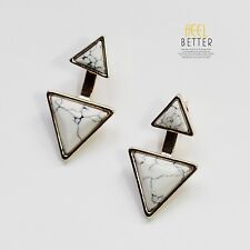 Boucles d`Oreilles Clous Doré Ear Jacket Turquoise Blanc Triangle Fashion CC 9