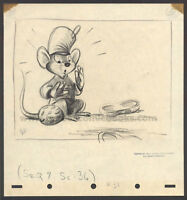 WALT DISNEY STUDIOS DUMBO STORYBOARD/CONCEPT DRAWING OF TIMOTHY MOUSE (1941)